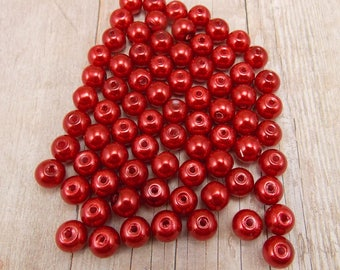 6mm Glass Pearls - Brick Red - 75 pieces - Maroon - Dark Red