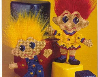 Troll Twins - plastic canvas pattern