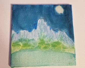 Glacier Miniature Watercolor Painting
