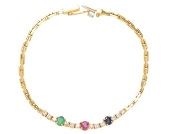 Emerald Ruby Sapphire and Diamond Bracelet set in 18KT Gold