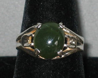 Jade in Sterling Silver Ring, Size 10 1/4
