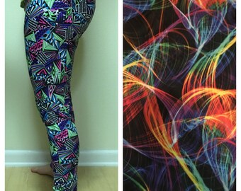 Athletic Spandex Pants - Crazy Swirls , Running Tights , Yoga Pants, Pilates Capris , Spandex Tights , Green , Yellow , Black Spandex , Blue