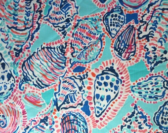 SHELL ME ABOUT It Fabric 18x18 or 18x9 Lilly Pulitzer