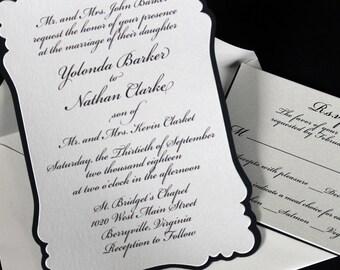 Wedding Invitation   Bridal Shower Invite   Romantic Wedding Invite   Adult Birthday Invite   Script Invitation   Black and White Invitation