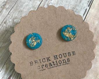Sky Blue Gold Foil Earrings