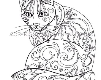 cat fish types etsy Bi Mu Cat coloring book five pages original art butterflies cat fish rooster owl adult coloring pages