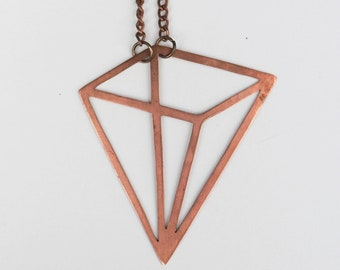 Geometric Copper Necklace | Pyramid