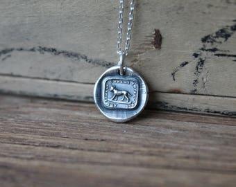 Faithful friend-Dog wax seal oxidized fine silver charm
