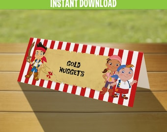 Disney Jake and the Neverland Pirates Birthday Tent Cards / Place Cards - Instant Download and Edit with Adobe Reader