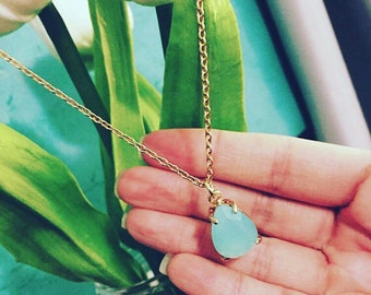 Teal Teardrop Stone Necklace, Teal Stone Necklace, Teardrop Necklace, Stone Jewellery, Teal Stone Jewelry.