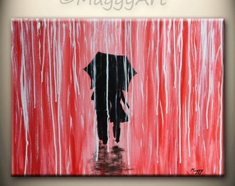 abstract original painting,black white red, walking in rain,love couple,24x18 inch,home decor,wall art,great wedding gift,ON SALE