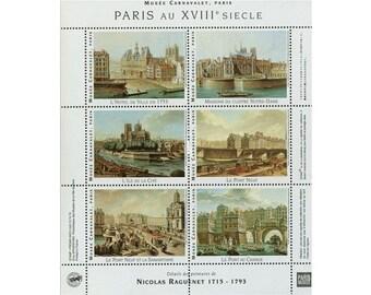 1 Sheet - Artistamps (Stickers) of Paris au XVIIIe Siecle - France - 18th Century - Landmarks - Seals - Gummed - Raguenet - Mail Art