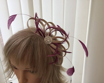 Champaigne & amethyst  sinamay fascinator, hair accessories, can be custom made to match your outfit