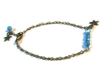 Antique gold metal and glass turquoise bracelet