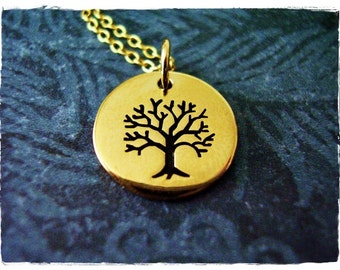 Gold Rowan Tree Necklace - Bronze Rowan Tree Charm on a Delicate 14kt Gold Filled Cable Chain or Charm Only