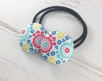 Elastic hair tie, ponytail holder, hair tie for women, button hair tie, girls ponytail holder, fabric button ties, hair tie set, elastic tie