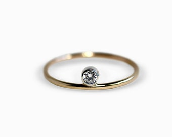 Dot Ring - Stacking Ring - CZ Stacking Ring- 14K Gold Filled Stacking Ring - Sterling Silver Stacking Ring - Stacking Ring - Gift for Women