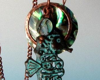 Abalone & Green Patina Seahorse, Copper Pendant