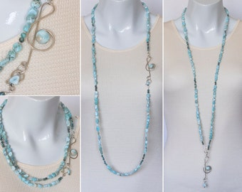 Elegant Dominican larimar necklace with sterling silver pendant clasp - GemChristina LAM5973