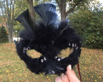 Black Swan Masquerade Mask, Black Feather Mask, Masquerade Mask, Black Swan Costume Accessory
