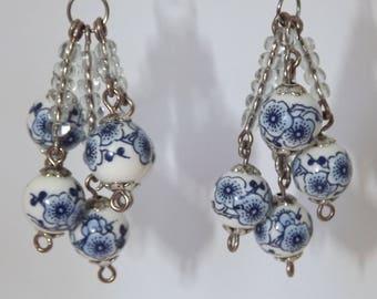 Blue and white porcelain cluster earrings