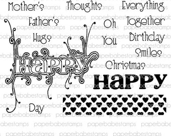 Happy Thoughts Stamp Set - Paperbabe Stamps - Clear Photopolymer Stamps - For paper crafting and scrapbooking.