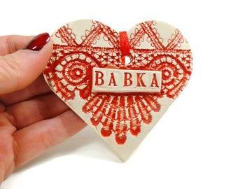 Babka Ornament, Polish Grandmother Gift, Grandmother To Be, Gift for Babka, Grandparent Gift, Pregnancy Reveal, Christmas Ornament