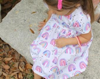 Rainbow Dress, baby dress, toddler dress, girl dress, St. Patricks day, st pattys dress, rainbows, holiday dress, irish dress