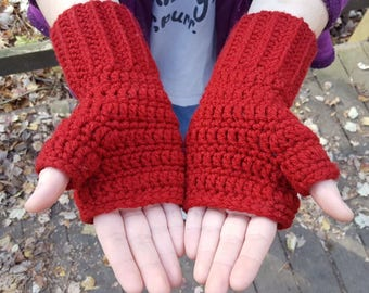 Red Hat with Fingerless Gloves
