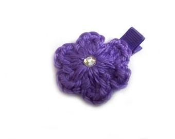 Purple Crochet Flower Hair Clip Crochet Flower Alligator Clip Purple Crochet Hair Clip Purple Hair Clip Baby Girl Hair Clip Toddler Girls