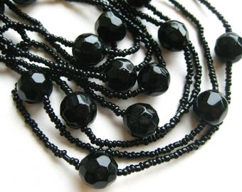 "Vintage 20s Art Deco Jet Black Glass Bead 60"" Long Lariat Sautoir Beaded Necklace"