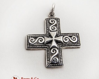 SaLe! sALe! Vintage Sterling Silver Cross Pendant Openwork Scroll Decorations