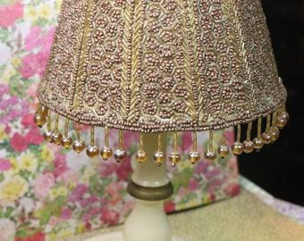 Vintage 1940's Hand Beaded Lampshade