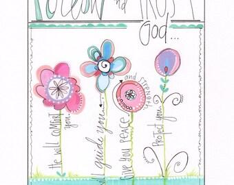 Christian art print - Children's artwork - Girls wall hanging - Bible painting - Word art - Personalized art - Flower art - Tween art