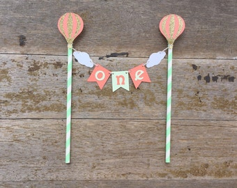 Hot air Balloon Cake Banner - Up Up & Away Party - Mint and Coral Hot air Balloon - Mint Coral 1st Birthday -Hot Air Balloon Cake decoration