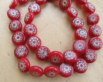 Set of 10 handmade millefiori beads 10 x 4 mm multicolored glass flat round.