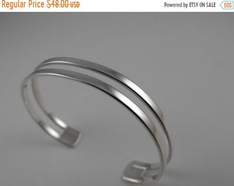 Mothers Day Sale Two Line Cut out 11mm wide Sterling Silver Cuff Style Adjustable Bracelet