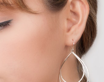 Teardrop Earrings, Double Hoop Earrings with Movement, Large Teardrop Hammered Sterling Silver Boho Chic Jewelry