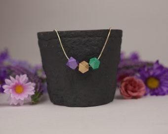 Mardi Gras wooden bead necklace