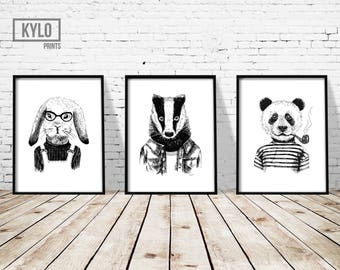 "Cute Animal Print Set of 11x14"", Funny Animal Art, Bunny Rabbit, Badger, Panda Print, Hand Drawn Illustration, Nursery Decor, Home Wall Art"
