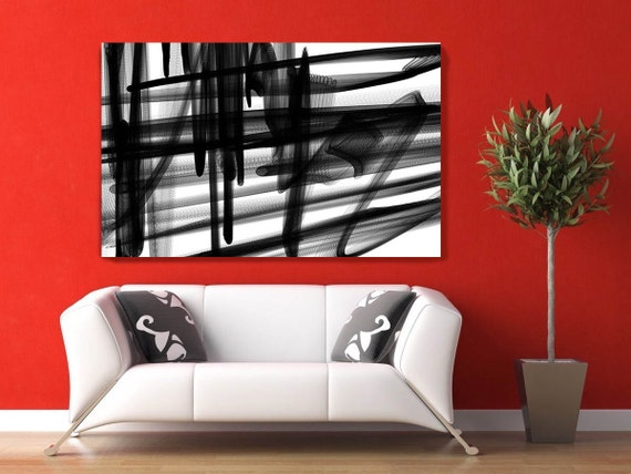 """Industrial Abstract in Black and White 2015-19. Unique Abstract Wall Decor, Large Contemporary Canvas Art Print up to 72"""" by Irena Orlov"""