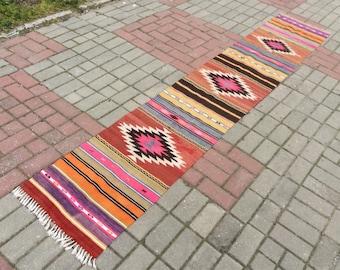 Turkish Kilim Runner, Bohemian Rug, vintage runner, turkish Kilim Runner, Turkish Rug, handwoven rugs, vintage kilim rug, Kilim Runner