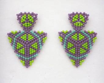 Spring Peyote Triangle Earrings