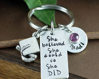 Personalized Graduation Keychain | She believed she Could so She did Keychain | Gift for Graduate | Pewter Keychain | Custom Keychain