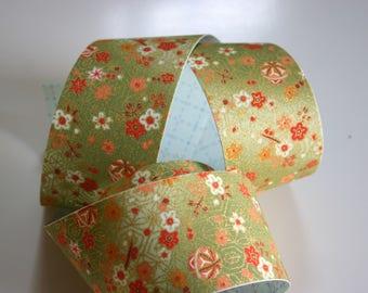 Olive Green Temari balls - Japanese print cotton Fabric Sticker/Tape (1 tape = 5 cm x 1m)