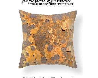 Orange Rust Photo Pillow, Peeling Paint Toss Pillow, Industrial Urban Decor, Modern Art Edgy Decor Pillow Case, Orange Throw Pillow Cover