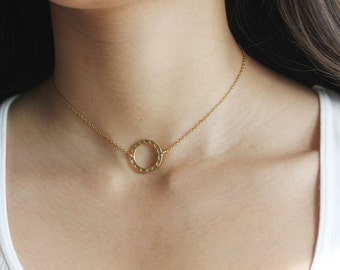 Gold Circle Choker Minimalist Jewelry Layering Necklace Circle Necklace Gift For Her