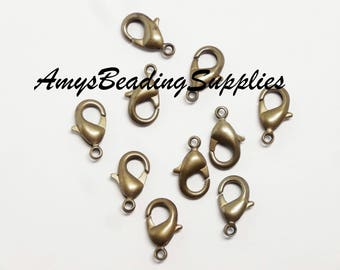 5 Vintaj Natural Brass 12mm Classic Lobster Clasps, 5 Pieces (CL0003)