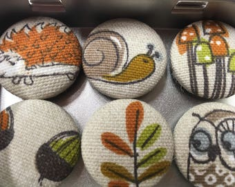 Handmade Fabric Button Magnets in Freyetts Woodland Fabric