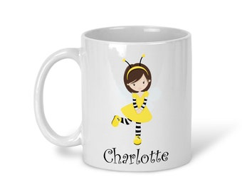 Kids Personalized Ceramic Mug - Honey Bee Girl with Name, Child Personalized Mug, Colored Rim and Handle, Color Heat Reactive